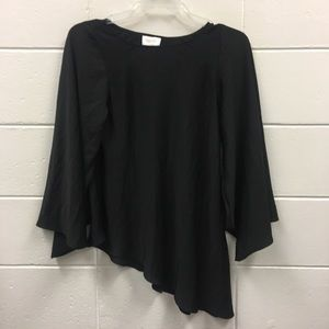 Laundry Shelli Segal Black Tunic Top Bell Sleeves
